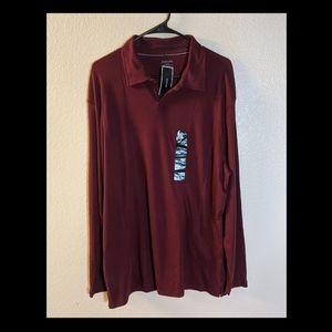 NWT Alfani Maroon Long Sleeve Collar Shirt Sz XL
